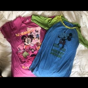 2 Disney Parks Mickey Minnie Mouse Nightgowns PJs
